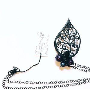 Black Swarovski Pearl Leaf Necklace